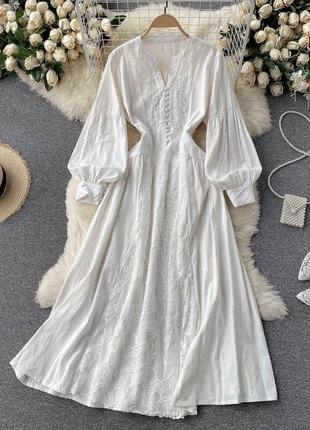 Белоснежное кружевное платье макси, котоновое платье с длинным рукавом-фонариком