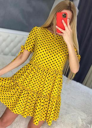 Женские платья свободного кроя в горошек