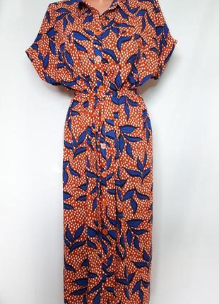 Красное платье -халат на пуговицах  в синий принт george (размер 12-14)