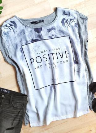 Серая футболка с принтом / удлиненная