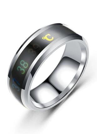 Умное кольцо с датчиком температуры чёрное 8 размер