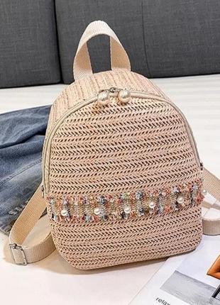 Женский соломеный рюкзак