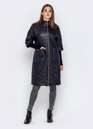 Стильная женская демисезонная куртка удлиненная пальто плащ чёрная с укорочёнными рукавом
