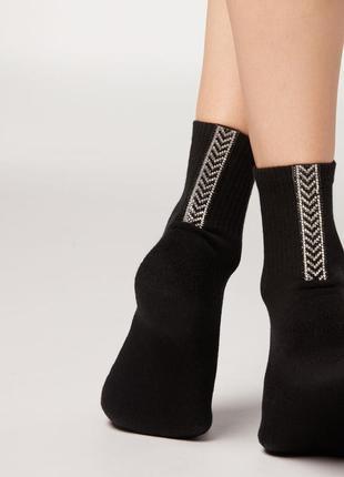 Носочки calzedonia с роскошной аппликацией из страз !!!