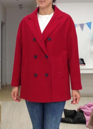 Супер шерстяное пальто красное, m