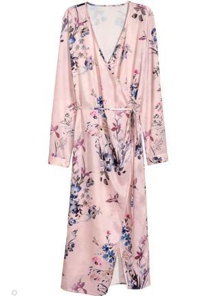 Стильное платье халат, накидка h&m на запах в цветочный принт