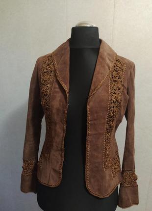 Скидка ! женский замшевый ажурный пиджак жіночий піджак