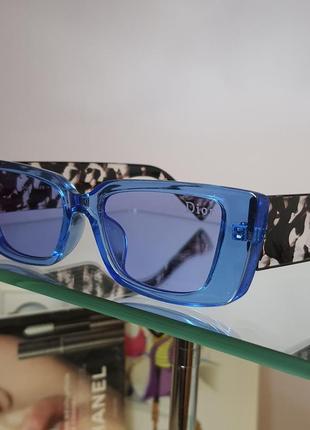 Очки солнцезащитные голубые с оригинальной дужкой6 фото