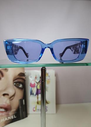 Очки солнцезащитные голубые с оригинальной дужкой3 фото