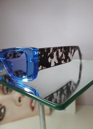 Очки солнцезащитные голубые с оригинальной дужкой4 фото