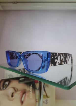 Очки солнцезащитные голубые с оригинальной дужкой2 фото