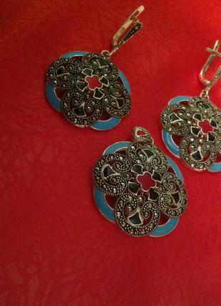 ... Шикарный набор серебро 925 пр капельное серебро с маркезитами и эмалью3  ... fc3630ad7c1