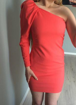 •венсеті •чудова сукня з одним рукавом коралового кольору