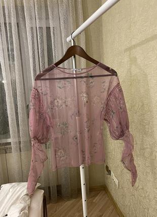 Блуза прозрачная розовая в цветочек