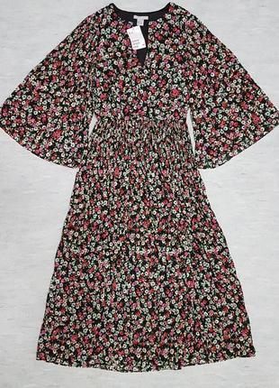 Красивое шифоновое плиссированное платье миди h&m в цветочный принт.