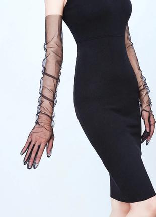 Перчатки   черные прозрачные из фатина сетка выше локтя ретро винтаж/ маленький размер s,xs