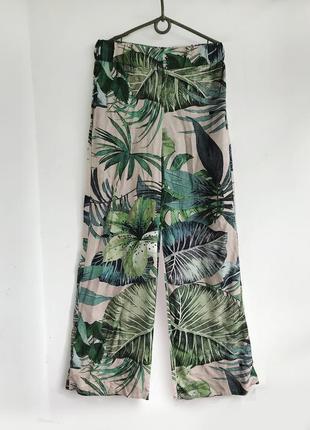 Натуральные свободные брюки палаццо с высокой талией в тропический принт