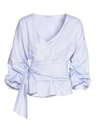 Рубашка в мелкую полоску интересного кроя h&m