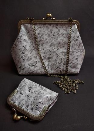 Кожаный набор (сумка+кошелек) в единственном экземпляре.