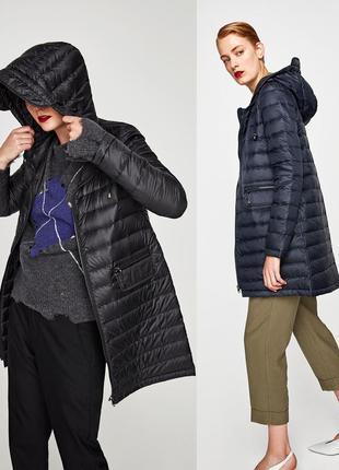 Zara  длинное пальто с капюшоном