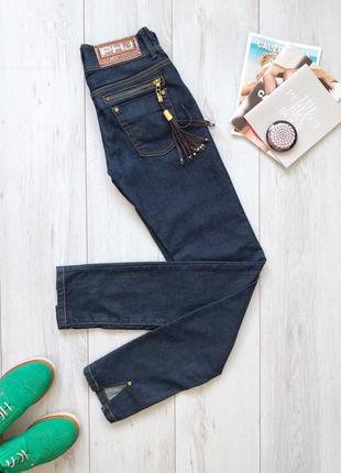 Итальянские узкие джинсы phard 25 26 скинни темно-синие с замшевой кистью