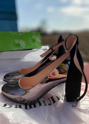 Туфли лаковые+замш