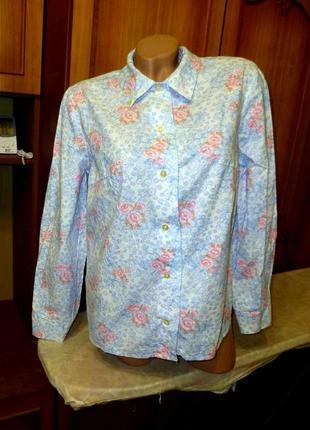 Винтажная новая натуральная хлопковая женская рубашка-блузка,бирки ссср