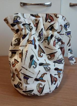 Яркая сумка торба на затяжке, текстиль с принтом, эксклюзив