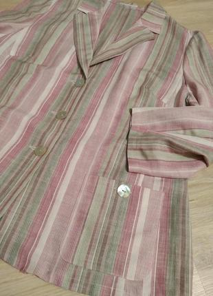 Натуральный лен стильный пиджак жакет кардиган