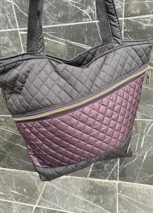 Стеганная вместительная сумка для повседневной носки из балоньевой ткани