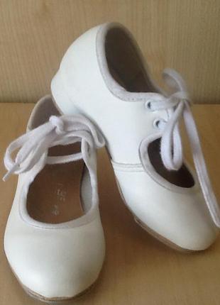 Танцевальные белые туфли/ туфли для степа детские/ туфли для утренника, концерта