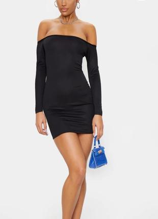 Сексуальное чёрное платье мини с открытыми плечами