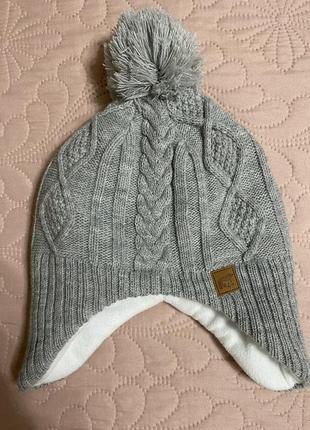 Серая зимняя шапка на флисе, 3-4 года