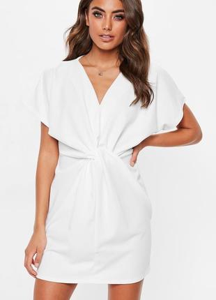 Летнее белое креповое платье кимоно missguided