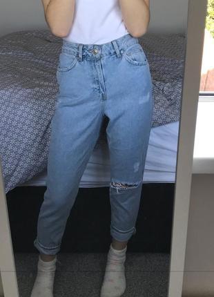 Стильні джинси з потертостями , висока посадка