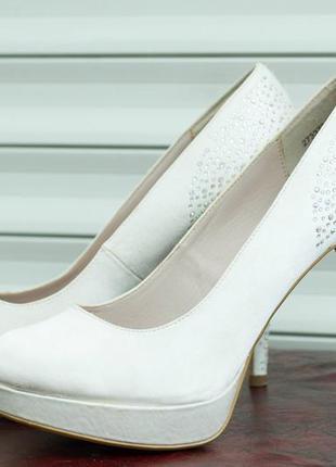 Атласные свадебные туфли, белые туфли на шпильке, стелька 27 см