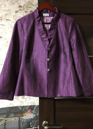 Роскошный льняной жакет,пиджак с рюшами,жатка,almia