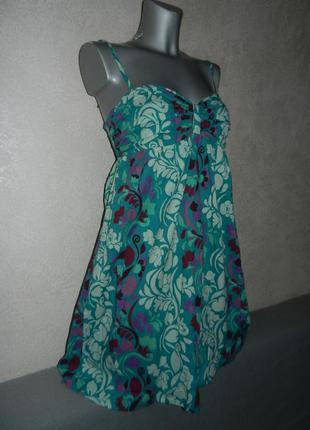 48/l*roxy*платье,бирюзовый сарафан колокол 100%хлопок индия
