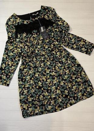 Платье в цветочный принт с гипюровой вставкой от limited новое