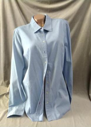 Блакитна бавовняна жіноча сорочка, євр.розмір 48