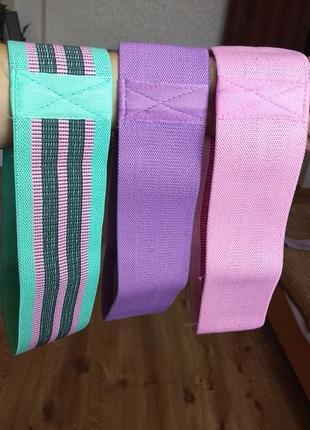 Тканевые фитнес резинки (комплект из трёх тезинок и цена за три!) ленты сопротивления