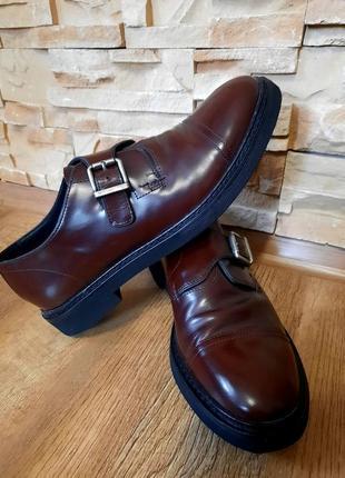 41 р.. geox италия. туфли, монки, броги. кожаные коричневые