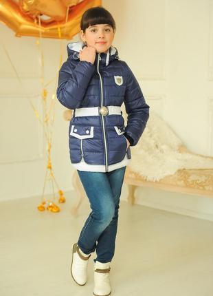 Модная демисезонная куртка парка с поясом, на девочку.30-40р.