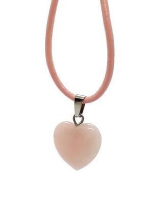 """🌸💖 кулон натуральный камень розовый кварц """"сердце"""" на кожаном шнурке сердечко"""