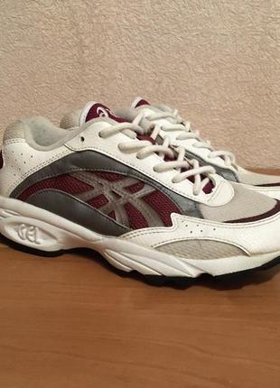 Asics gel 39-39.5 женские белые кроссовки кожа / ткань