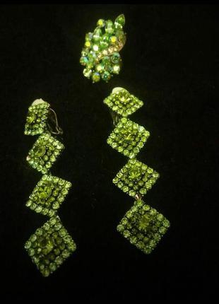 Роскошные изумрудные клипсы, серьги с кристаллами swarovski.