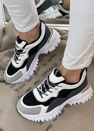Кроссовки черно-белые-серые