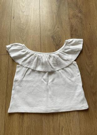Майка топ pull&bear футболка на плечи отрытые с воланами рюшами белый кофта на резинке