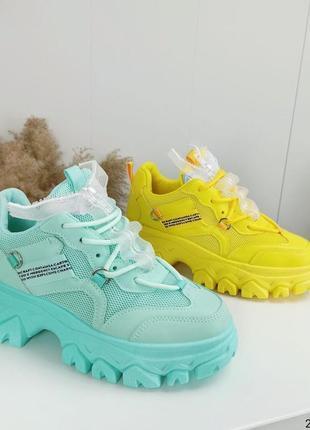 Яркие стильные женские кроссовки с сеткой 💓