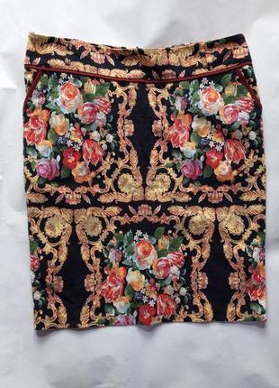 Юбка до колен принт цветы прованс в винтажном стиле под винтаж dawn line